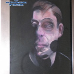 One of five stolen paintings by Francis Bacon is seen after it was recovered by Spanish authorities.