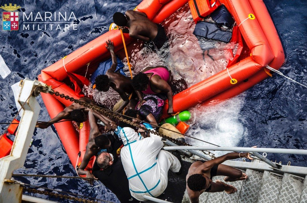 Rescuers help migrants board the Italian Navy ship Vega on Friday in the Mediterranean Sea after the boat they were aboard sank. They face an uncertain future but their fate is better that of than some who attempted the journey. Authorities say in the past few years many migrant boats have sunk without a trace in the Mediterranean, with the dead never found.