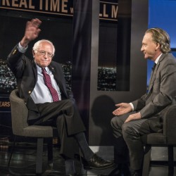 "Democratic presidential candidate Sen. Bernie Sanders, I-Vt., speaks with host Bill Maher during an interview on ""Real Time With Bill Maher"" on Friday in Los Angeles.  The Associated Press"