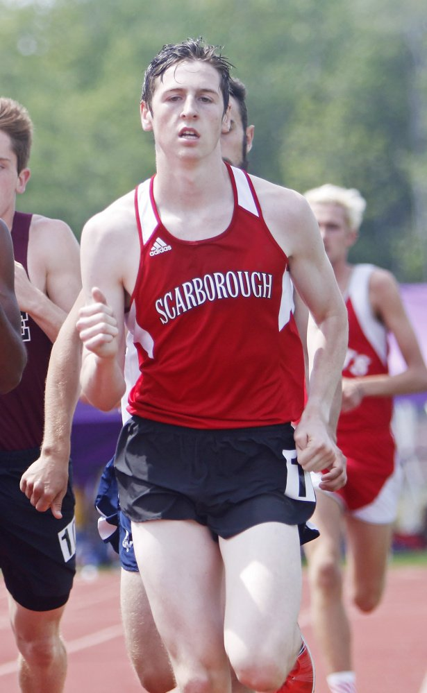 Andrew Sholl of Scarborough came from behind in a close finish to win the 800 meters at the SMAA track and field championships on Saturday.