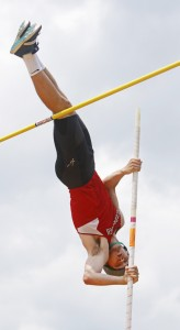 Sam Rusak of Scarborough attempts to clear 15 feet at the SMAA track and field championships Saturday. His best successful  attempt was 14 feet, 5.5 inches.