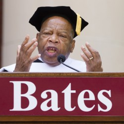 "U.S. Rep. John R. Lewis, D-Ga., urges graduates to use their education as a tool to set ""our little planet"" free."
