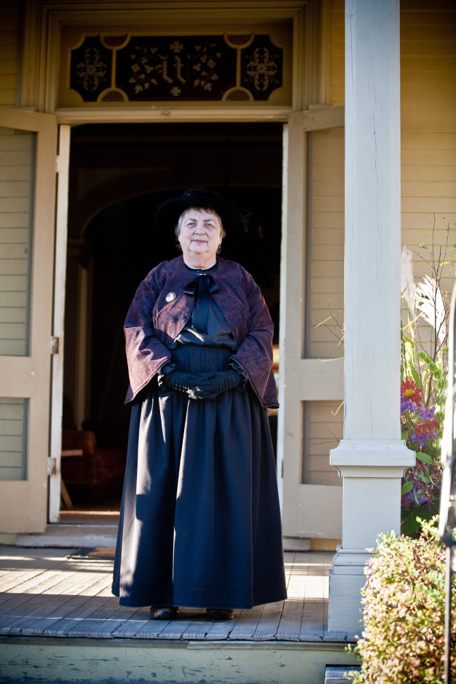"Longtime Washburn-Norlands historic presenter Willi Irish, dressed for her historic portrayal of ""Aunt Clara"" a member of the Washburn family, who inhabited at the 445-acre homestead in the 18th and 19th centuries. Irish recently  was honored for 40 years of serving at the living history center. Photo courtesy Sheri Leahan"