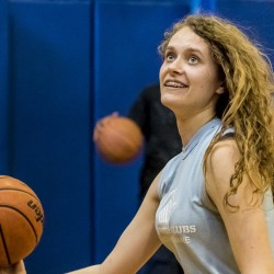 Brianna Guptill takes a shot on the Boys & Girls Club basketball court. She is the 2016 Local Youth of the Year for the Portland Clubhouse.