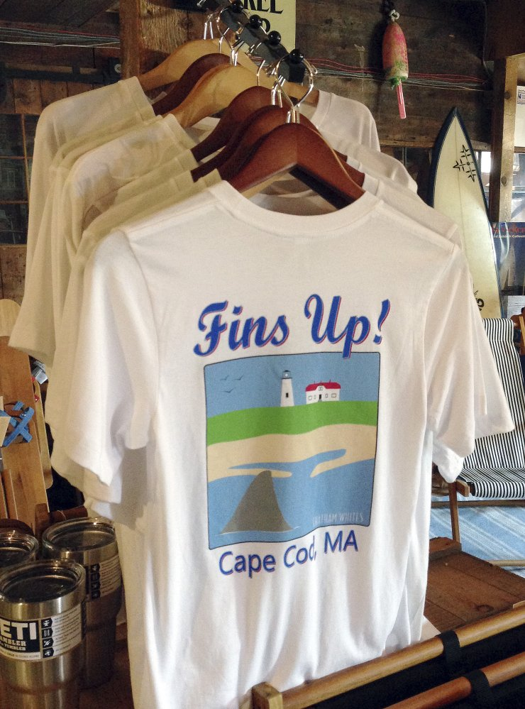 Though T-shirts like this one in Massachusetts make light of sharks, researchers have recently found a large jump in great white shark populations.