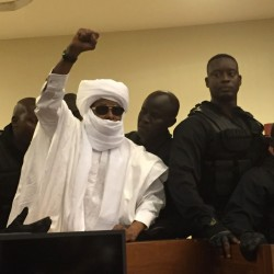 "Chad's former dictator Hissene Habre disrupts court proceedings in Senegal on Monday, shouting to his supporters, ""Long live independent Africa! Down with France-Africa!"""