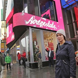 The Aeropostale clothing store in New York's Times Square. Once worth almost $2.6 billion, Aeropostale's market capitalization has fallen to about $2 million, and its share price hovers around 3 cents. The Associated Press