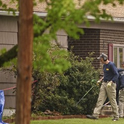 Federal agents search the home of reputed mobster Robert Gentile, Monday in Manchester, Conn. Prosecutors believe Gentile knows about the still-unsolved 1990 art heist at the Isabella Stewart Gardner Museum in Boston. Mark Mirko/Hartford Courant via AP