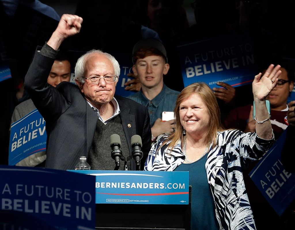 Bernie Sanders, speaking at a campaign rally Tuesday  in Louisville, Ky., with his wife, Jane, won the Indiana Democratic primary. The Associated Press