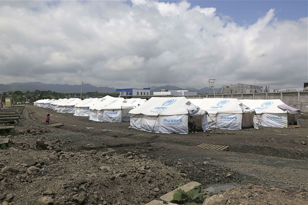 A tent village is set up for people displaced by last month's earthquake  in this In this May 15, 2016, photo. A month after the magnitude 7.8 earthquake many Ecuadorians are still struggling. The Associated Press