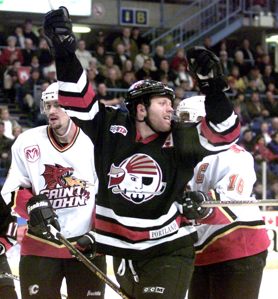Portland Pirates  Brad Church celerbrates after scoaring on a power play against the Saint John Flames. In fisrt period action at Harbour Station in Saint John in April 2001. Cindy Wilson Photo