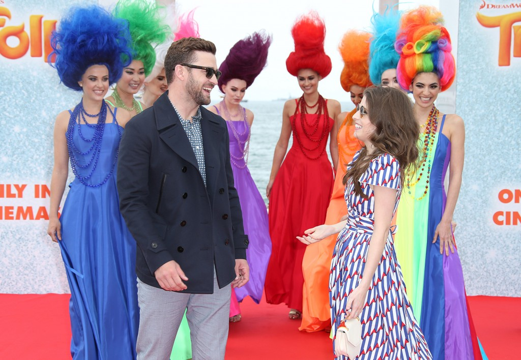 Actors Justin Timberlake, left, and Anna Kendrick pose for photographers during a photo call for the film Trolls at the 69th international film festival, Cannes, southern France, Wednesday. The Associated Press