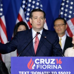 "Ted Cruz speaks in Indianapolis on Tuesday night next to his wife, Heidi, announcing the end of his presidential campaign. ""I've said I would continue on as long as there was a viable path to victory,"" he said. ""Tonight I'm sorry to say it appears that path has been foreclosed."" The Associated Press"