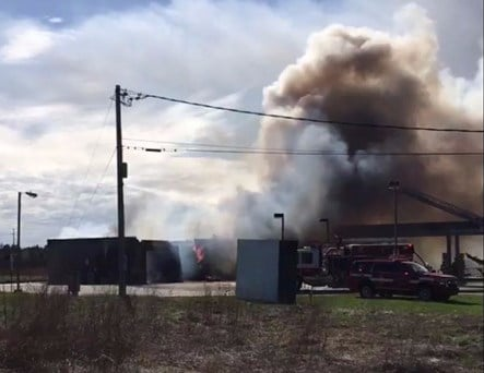 A gas station caught fire on Route 25 in Gorham on Friday.