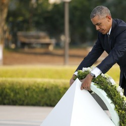 President Barack Obama lays a wreath at Hiroshima Peace Memorial Park.