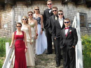 First row, Stephanie Hill and Riley McCollett; second row, Cassie Dever and Jackson Vail; third row, Shania Melvin and Patrick Madden; back row, Riley Arbour and Nicholas DePatsy: Medomak Valley High prom, May 21