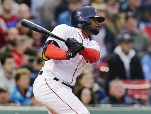 Jackie Bradley Jr. watches his double head toward the Green Monster during Boston's 8-3 win over Colorado on Tuesday. The double extended Bradley's hitting streak to 28 games.   The Associated Press