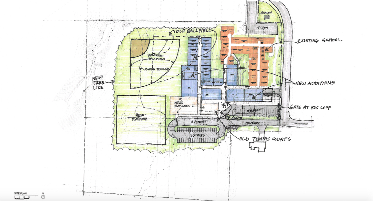 A sketch plan from architect harriman associates shows the existing saccarappa elementary school building in orange with the proposed expansion with 12