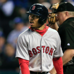 Boston's Mookie Betts looks at the pitcher after striking out during the Royals' 8-4 win over the Red Sox on Tuesday.   The Associated Press