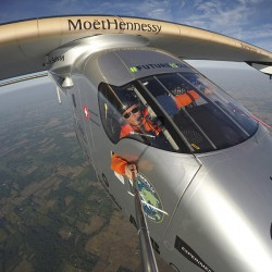 "Bertrand Piccard takes a selfie on board the ""Solar Impulse 2"" during his flight from Dayton, Ohio to Allentown, Pa."