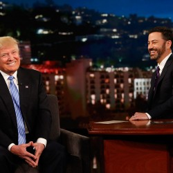 "Republican presidential candidate Donald Trump talks with host Jimmy Kimmel during a taping of the ABC television show, ""Jimmy Kimmel Live!,"" on Wednesday in Los Angeles."