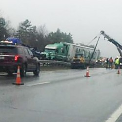 A tractor trailer crash closed lanes of the Maine Turnpike in both directions for several hours Monday morning at mile 105, two miles north of the West Gardiner exit. Dari Alpi/Central Maine Web Producer