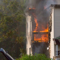 A fire heavily damaged 179 Woodford St. in Portland on Saturday.