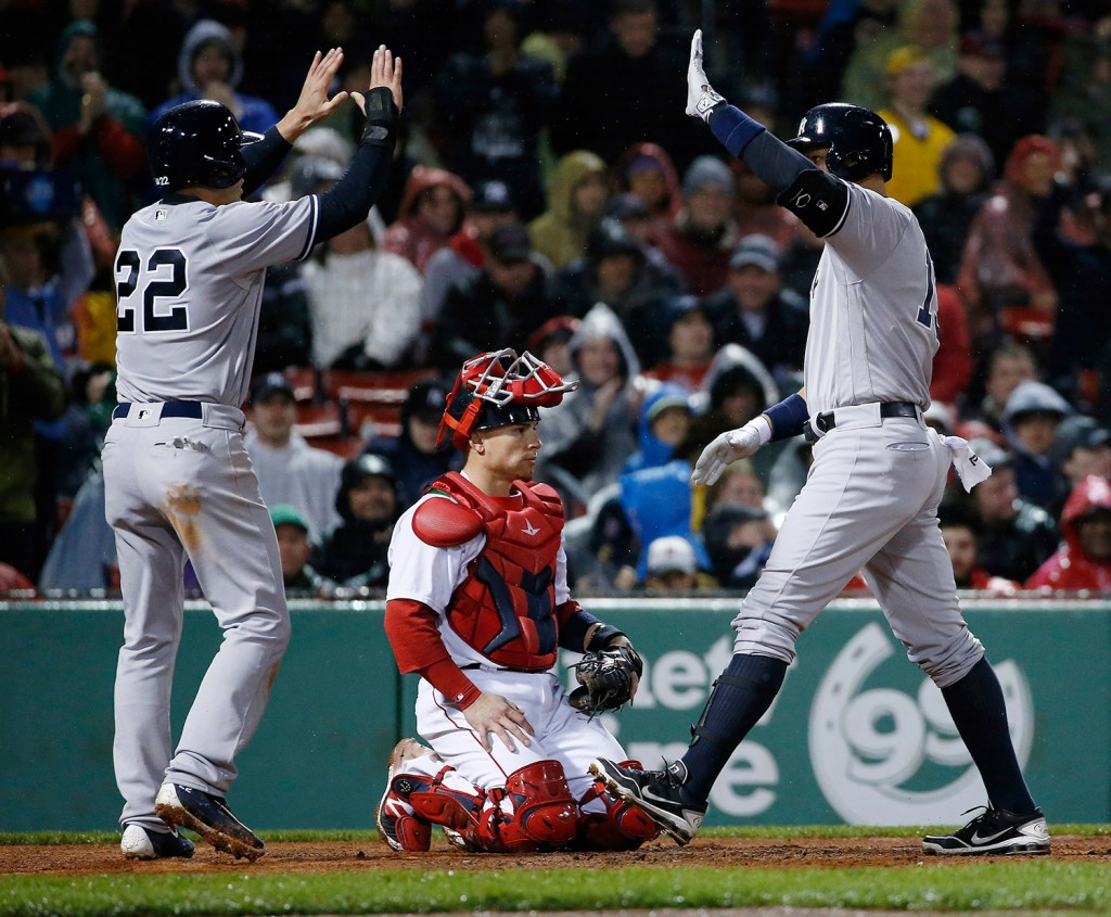 Rodriguez, right, celebrates his two-run home run with Jacoby Ellsbury.