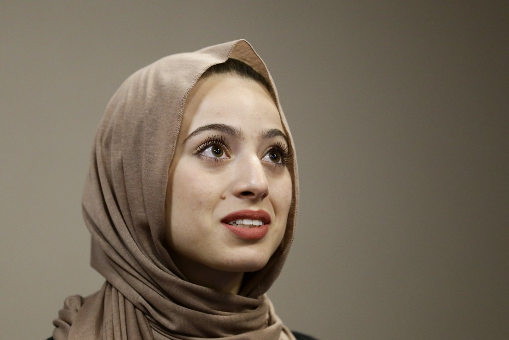 Bayan Zehlif, 17, speaks during a news conference on Monday  in Anaheim, Calif. Zehlif says she is