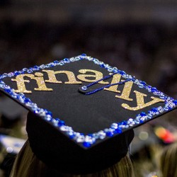 Veronica Ilene Palmer of Brunswick, graduating from USM Saturday at Cross Insurance Arena,  appropriately decorated her mortarboard. (Photo by Gabe Souza/Staff Photographer)