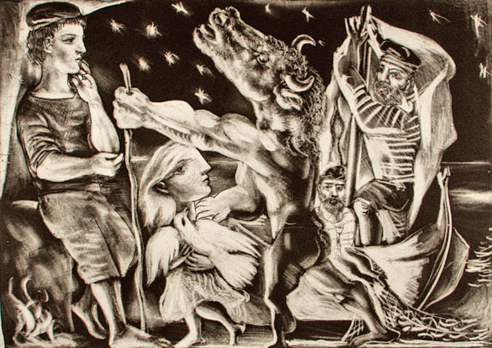 "Closeup of ""Minotaure aveugle guidé par une filette dans la nuit (Blind Minotaur Led by a Little Girl in the Night),"" 1934. Etching. Courtesy Colby College Museum of Art, The Lunder Collection"