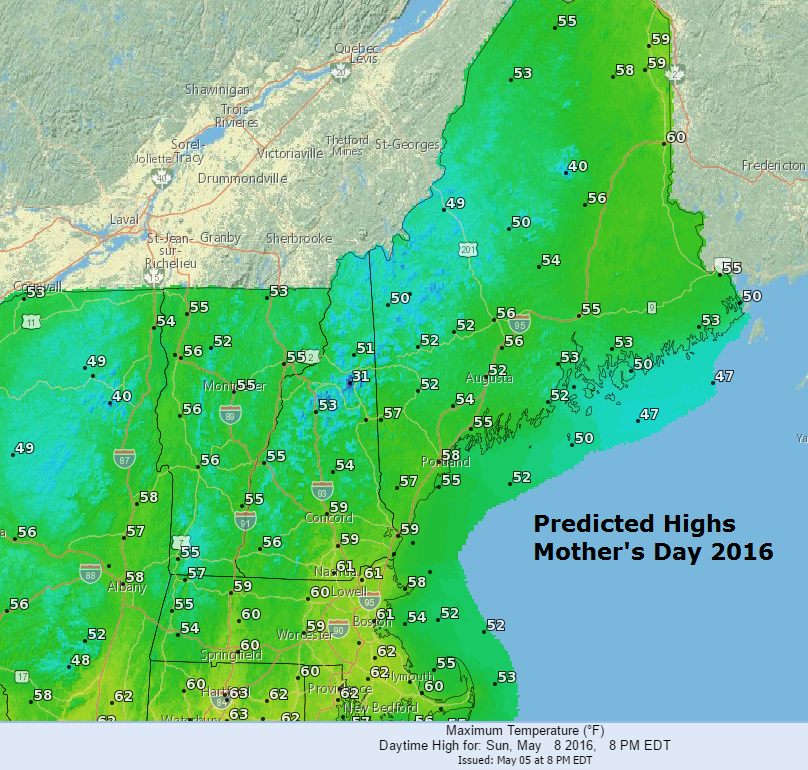 Predicted Highs Mother's Day