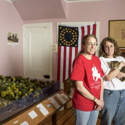 Ruth, left, and Rebecca Brown have made Civil War-themed dioramas using tiny clay cats since they were in their teens. In September, they opened the Civil War Tails at the Homestead Diorama Museum in Gettysburg, Pennsylvania.    Photo for The Washington Post by Matt Roth