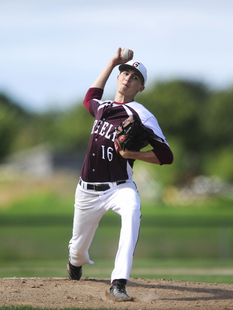 Ryan Twitchell of Greely delivers a pitch in the second inning. Derek Davis/Staff Photographer