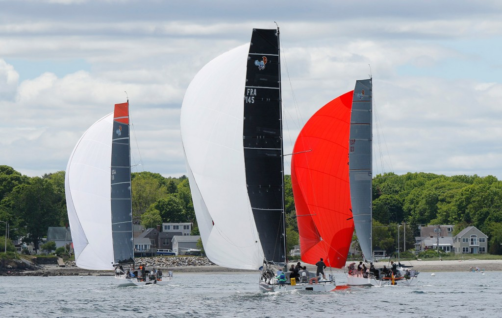From left, Oakcliff (USA), Eärendil (France) and Tales II (Spain), sail toward Williard Beach in South Portland.