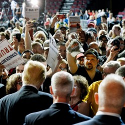 The crowd gathers to get a look at Donald Trump after he spoke at the Cross Insurance Center in Bangor on Wednesday.