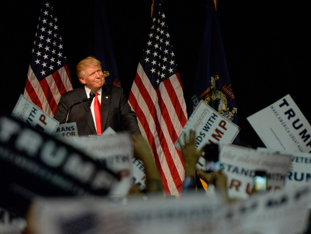 Presumptive Republican presidential candidate Donald Trump repeated his promise to crack down on illegal immigration during his campaign stop at the Cross Insurance Center in Bangor on Wednesday.