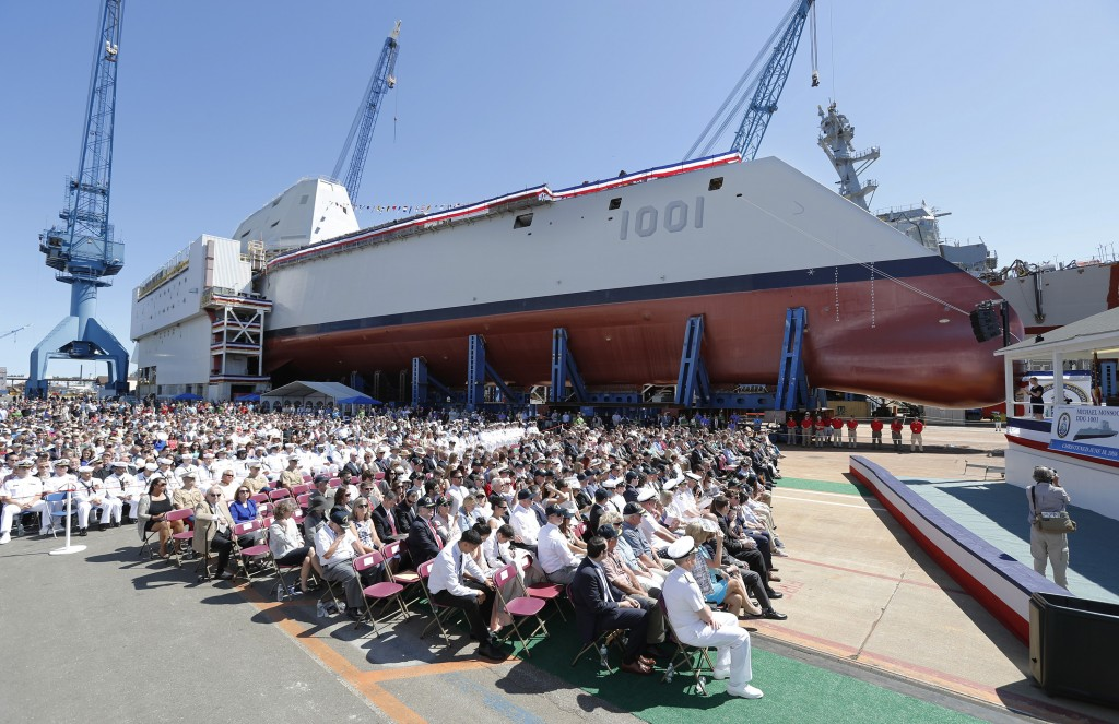A crowd watches the christening ceremony for Michael Monsoor (DDG 1001) on June 18, 2016, at Bath Iron Works.