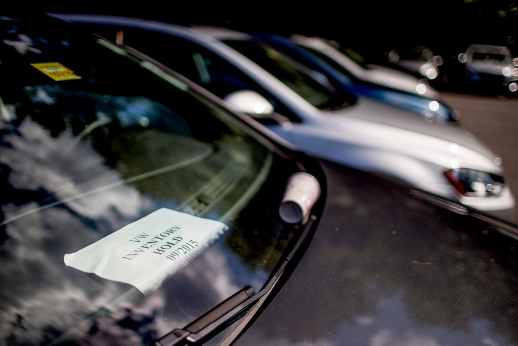 A sign in the windshield of a diesel Volkswagen at Morong Falmouth on Thursday indicates that the vehicle, along with 44 others, cannot be sold because of the ongoing settlement over the automaker's emissions scandal.