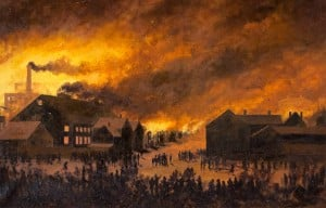 PORTLAND, ME - JUNE 8: Great Fire of 1866 in Portland, Maine. Painting from the Maine Historical Society. (Photo by Derek Davis/Staff Photographer)