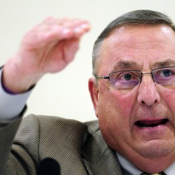 Gov. Paul LePage speaks during a town hall-style meeting Wednesday at Richmond High School.