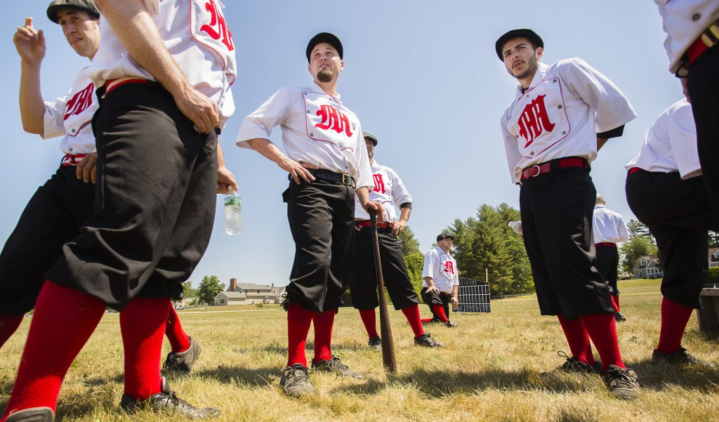 CORNISH, ME - JUNE 25: Members of the Mechanics Base Ball Club of Andover, Mass get ready to start a game in the New England Vintage Base Ball Festival at the Cornish Fairgrounds in Cornish, Maine on Saturday, June 25, 2016. A benefit in helping to restore and preserve the Cornish Fairgrounds, organised by the townÕs historical society and fairground committee, the festival will continue on Sunday with more 1864-rules baseball featuring six vintage base ball clubs from Maine, New England and New Jersey. Some of the rules in place during that era that are different than todayÕs game, include a player is ruled out if the ball is caught by the first hop, a ball that first lands in play that goes foul is considered a fair ball and pitches are made underhand. (Photo by Carl D. Walsh/Staff Photographer)