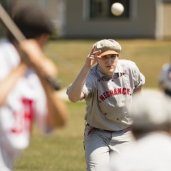 Flemington (New Jersey) Neshanock pitcher Danny Shaw pitches to a North Andover (Mass.) Mechanics batter during the New England Vintage Base Ball Festival at the Cornish Fairgrounds on Saturday.