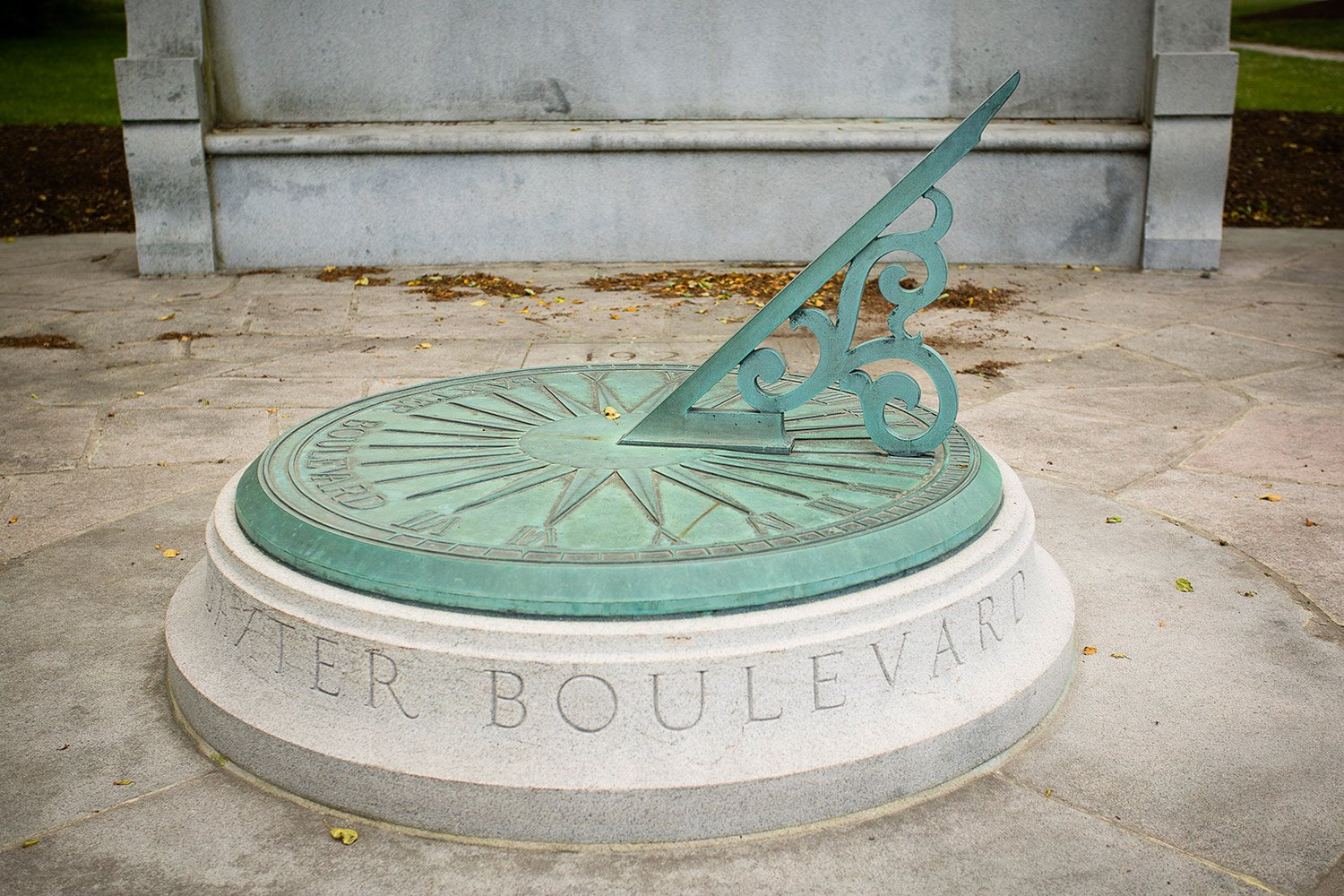 A sundial occupies a small park on the corner of Baxter Boulevard and Vannah Avenue in Portland.