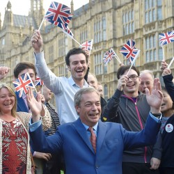 Nigel Farage, the leader of the United Kingdom Independence Party, makes a statement after Britain voted to leave the European Union in London.