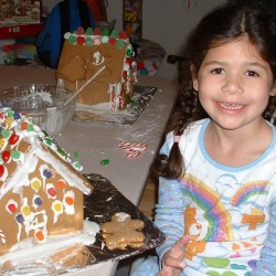Lucia at 6 years old graduates from constructing graham cracker houses with milk carton centers to store-bought kits made of gingerbread. She starts college this year.