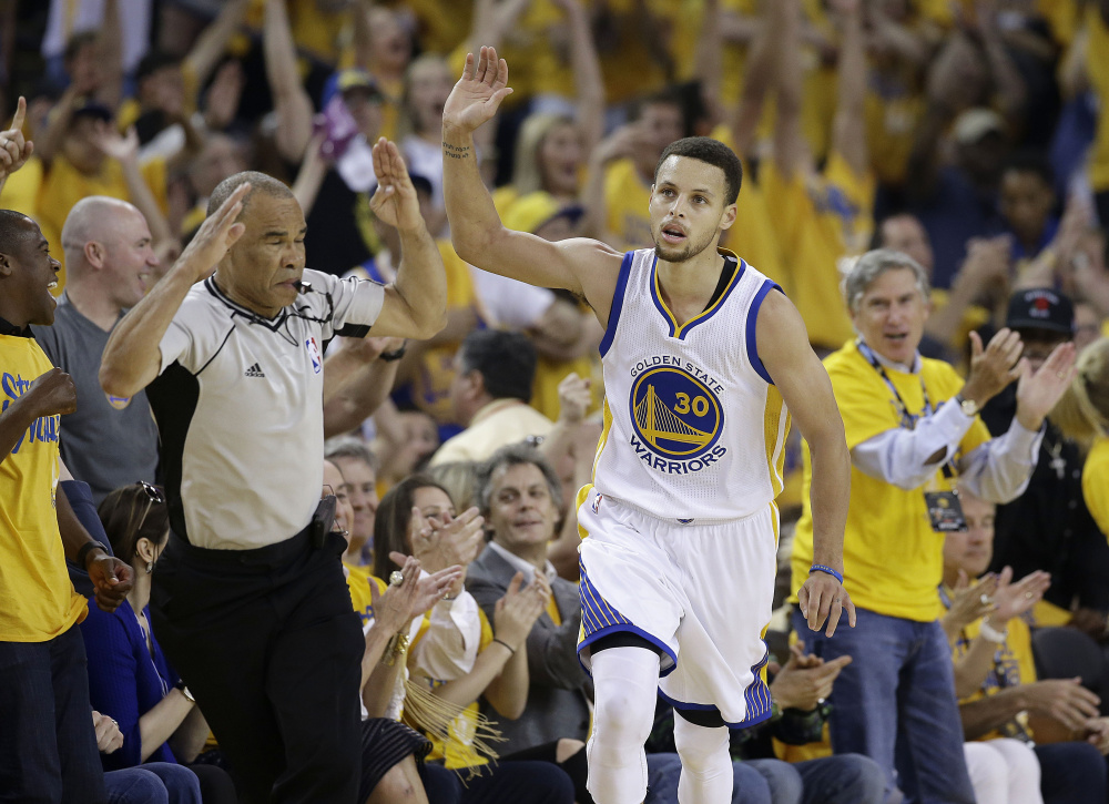 There was the injured ankle, then the sprained right knee, then the puffy elbow. One thing after another, but Stephen Curry returned to help the Warriors get past the Thunder, and now the finals with Cleveland awaits.