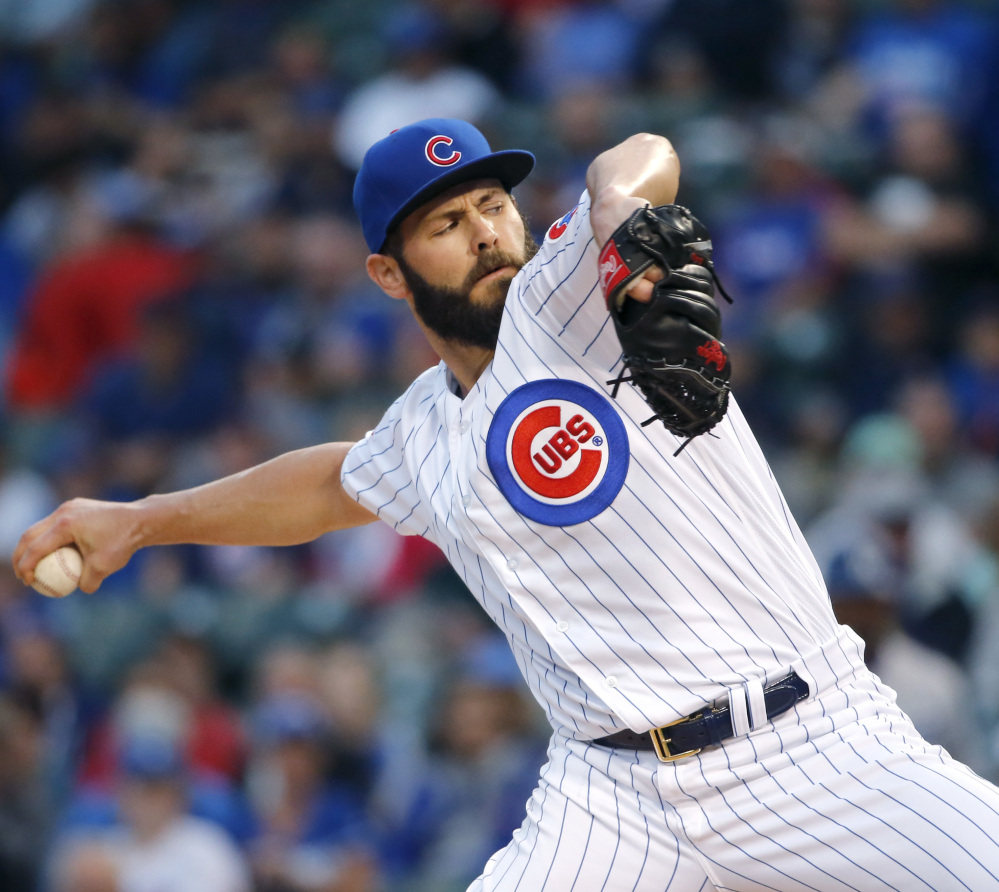 Jake Arrieta of the Cubs lasted seven innings Tuesday night, but got a no-decision as the Dodgers won at Chicago, 5-0. Arrieta remains 9-0.