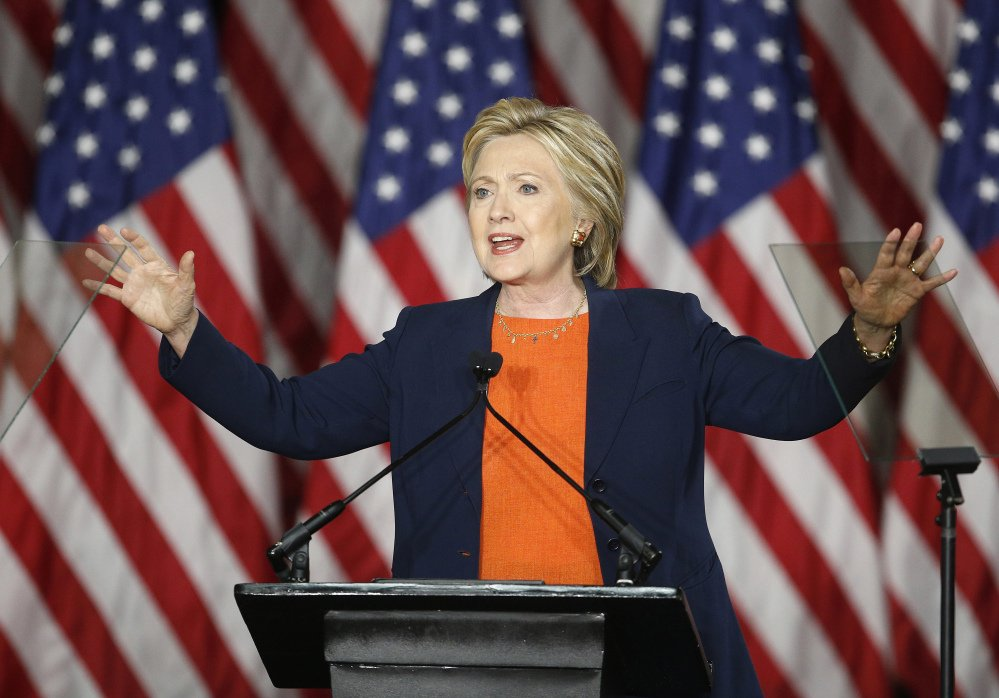 Democratic presidential candidate Hillary Clinton gives an address on national security Thursday in San Diego.