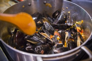 Christine Burns Rudalevige prepares Smokey Mussels with Thyme Tomatoes and Cream. Carl D. Walsh/Staff Photographer